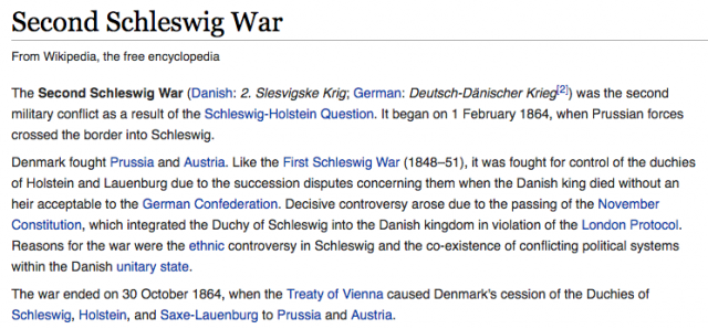 Wikipedia entry for the second Schlewsig War