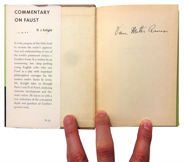 Commentary on Faust, signed by Van Meter Ames