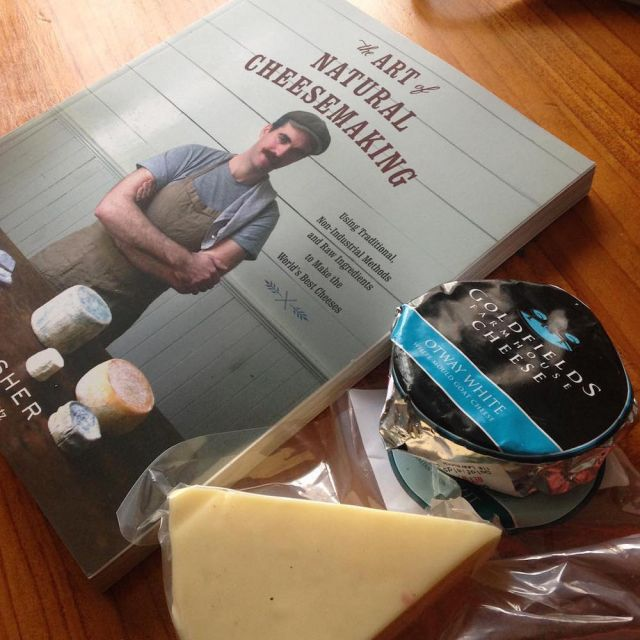 Cheesemaking book and locally made cheeses