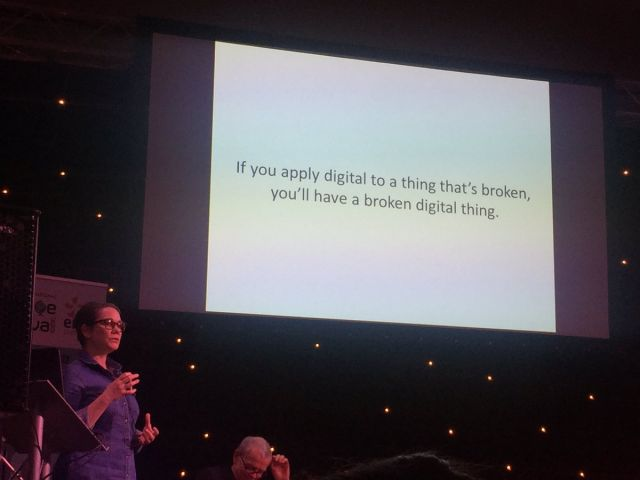"""Someone presenting a slide at a conference that says """"If you apply digital to a thing that's broken, you'll have a broken digital thing"""""""