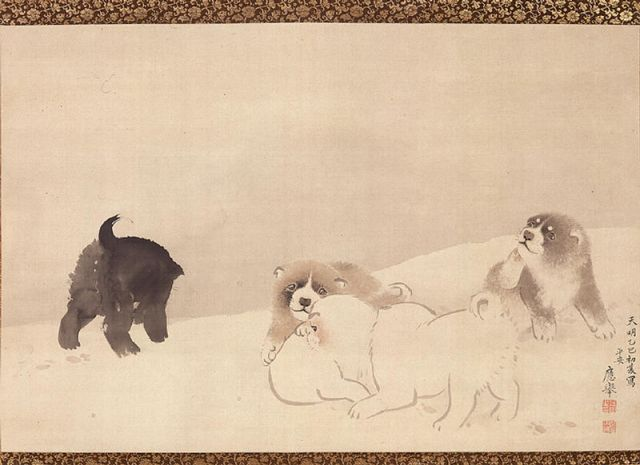 Maruyama Okyo woodblock scroll
