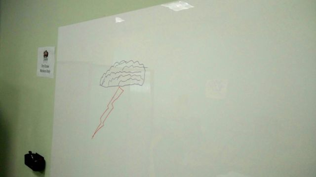 Image of whiteboard, with ... artisinal brainstorm cloud drawn upon it.