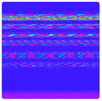purple square with technicolour banding (6 stripes)