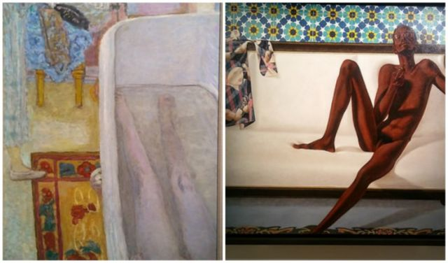 Pierre Bonnards Nude in the Bath 1925 left and Barkley L Hendricks Family Jules NNN No Naked Niggahs 1974 right