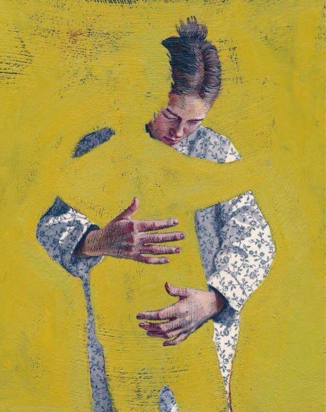"""Illustrasjon til boka """"La oss snakke om 22. juli"""" av Thomas J.R. Marthinsen. Kunstner: Els Cools"""