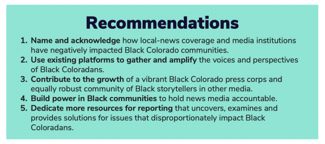 Screenshot of recommendations from News Voices: Colorado