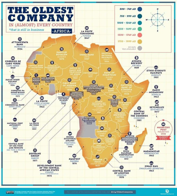 A map showing the oldest continually operating firm in each country