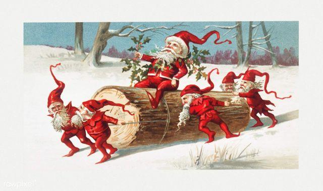 little red elves riding a log