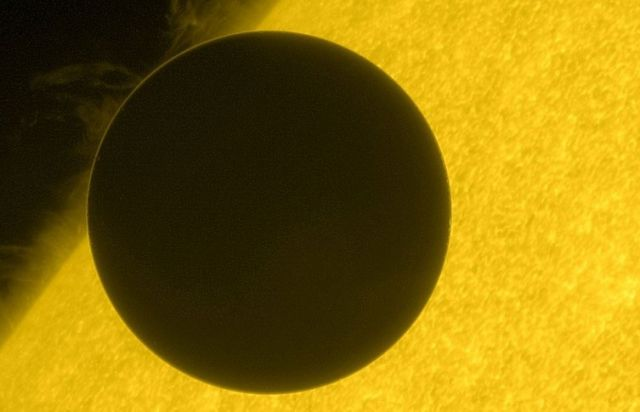 An image captured by the Hinode spacecraft of the 2012 transit of Venus. Copyright JAXA/NASA.