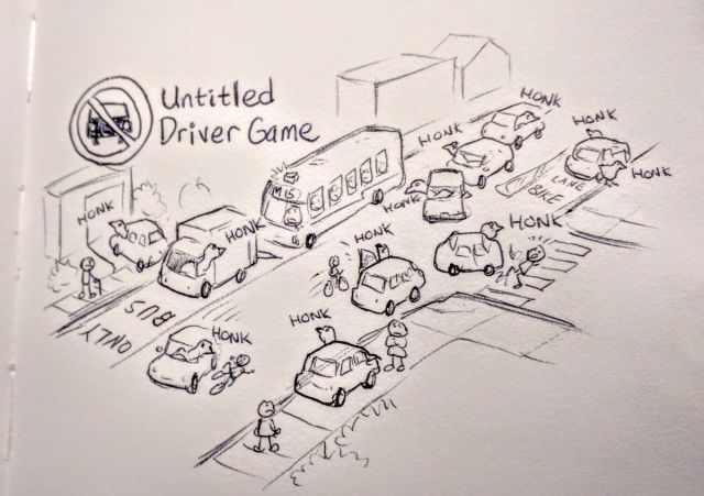 A drawing called Untitled Driver Game, a parody of the Goose Game with drivers terrorising pedestrians and cyclists