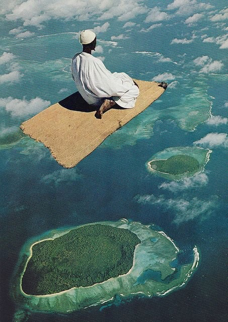 A collage of a person on a rug flying over an island