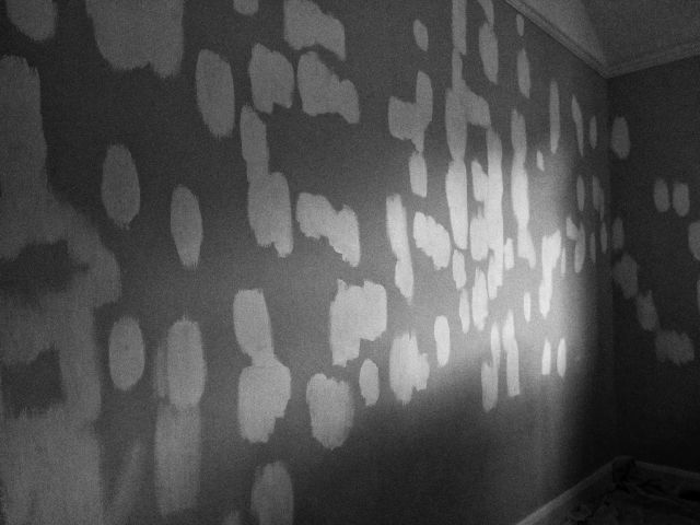 Black and white photo of a wall covered in patches of stain blocker paint.