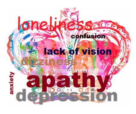 loneliness, confusion, lack of vision, dizziness, apathy, depression, anxiety