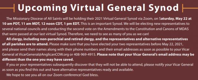 Upcoming Virtual General Synod: May 22 (Zoom)