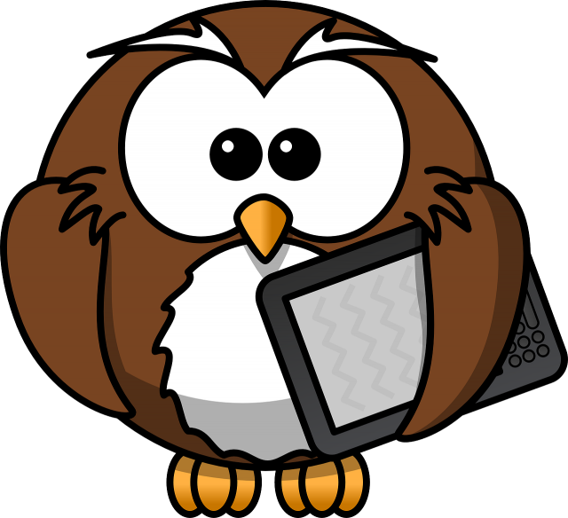 Cartoon Owl with Writing Tablet