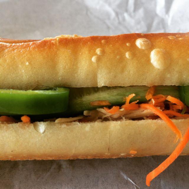 Bánh mi on perfect baguette from Au Coeur de Paris in Little Saigon