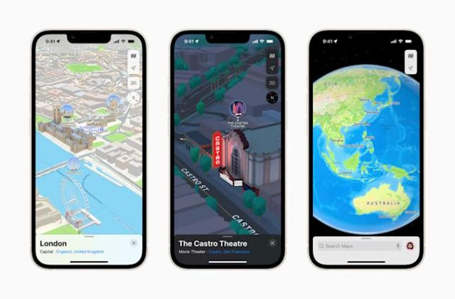 Apple Maps 3D view of London, The Castro Theatre, and Earth