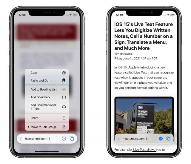 Safari iOS 15 beta