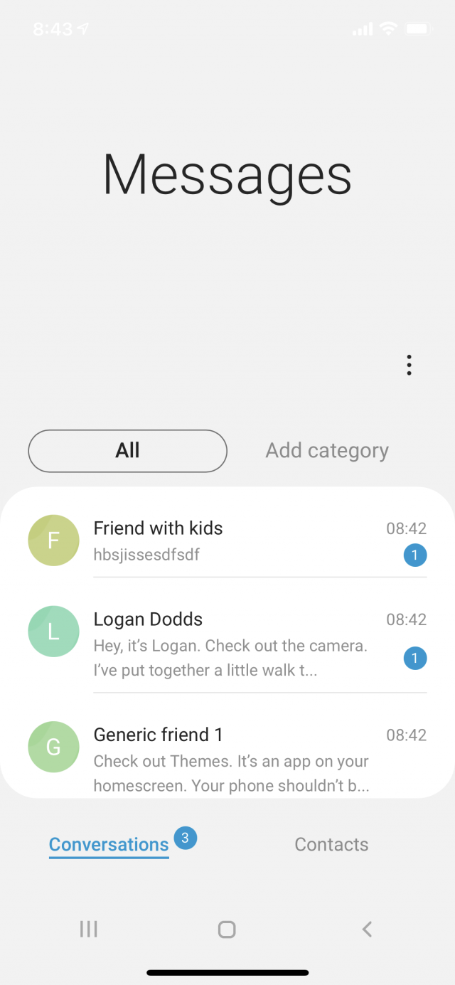 Samsung Messages with three conversations